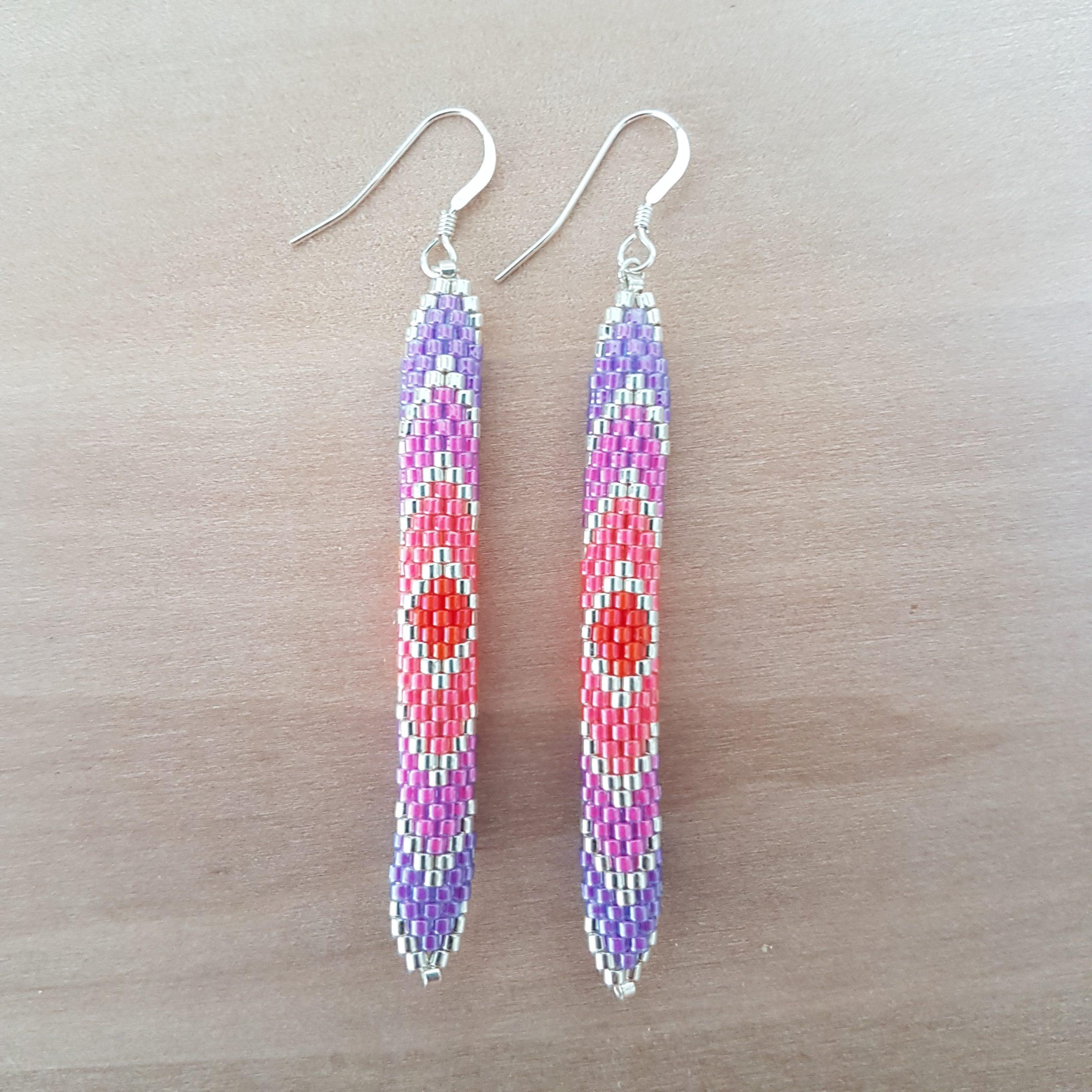 Cadeau femme Bijou artisanal lyon Boucles d'oreilles Arlequin rose rouge violet argent 925 miyuki