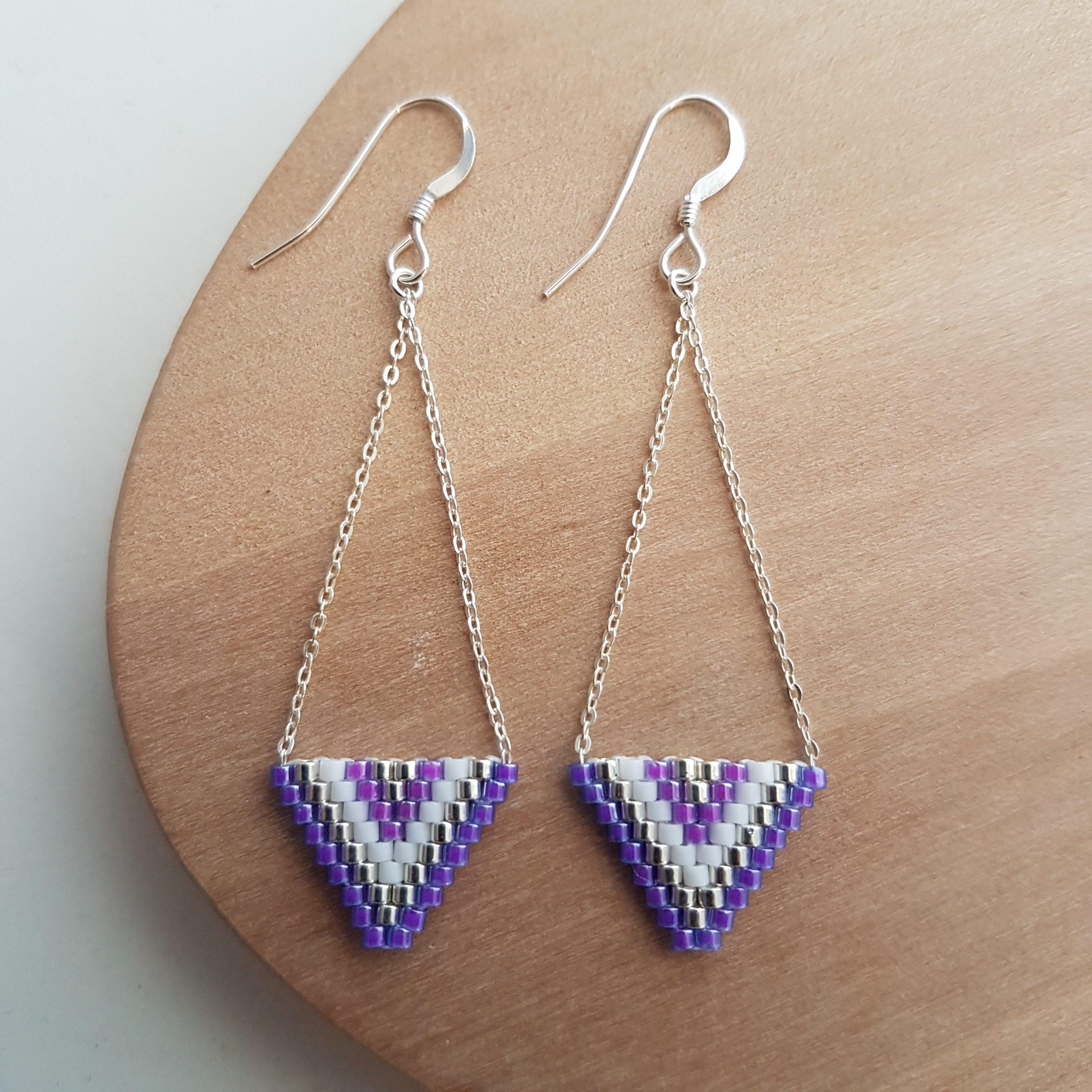 Cadeau femme Bijou artisanal lyon Boucles d'oreilles Alexandra violet argent 925 miyuki