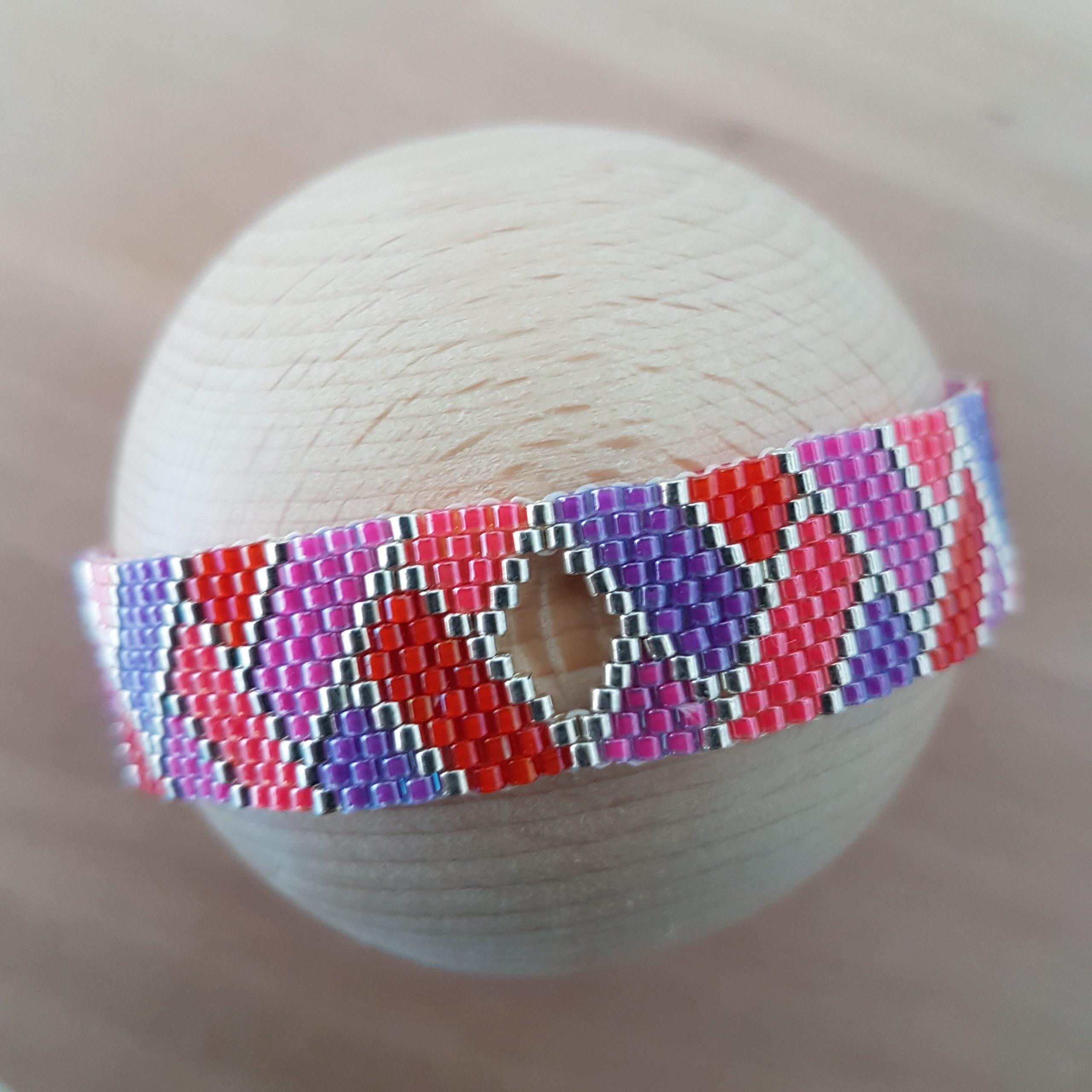 Cadeau femme Bijou artisanal lyon Bracelet Arlequin rose rouge violet argent 925 miyuki