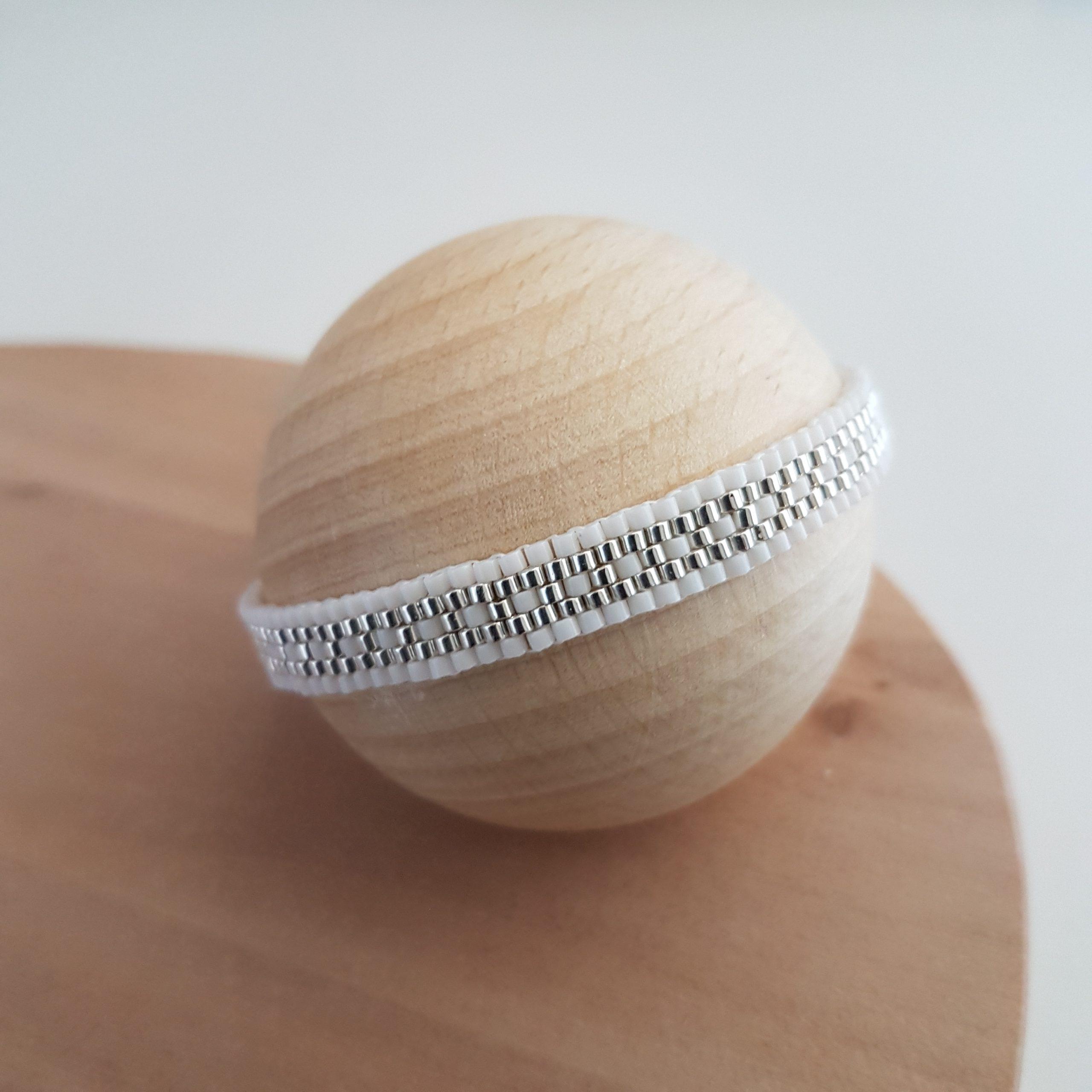 Cadeau femme Bijou artisanal lyon Bracelet Les cumulables blanc argent 925 miyuki