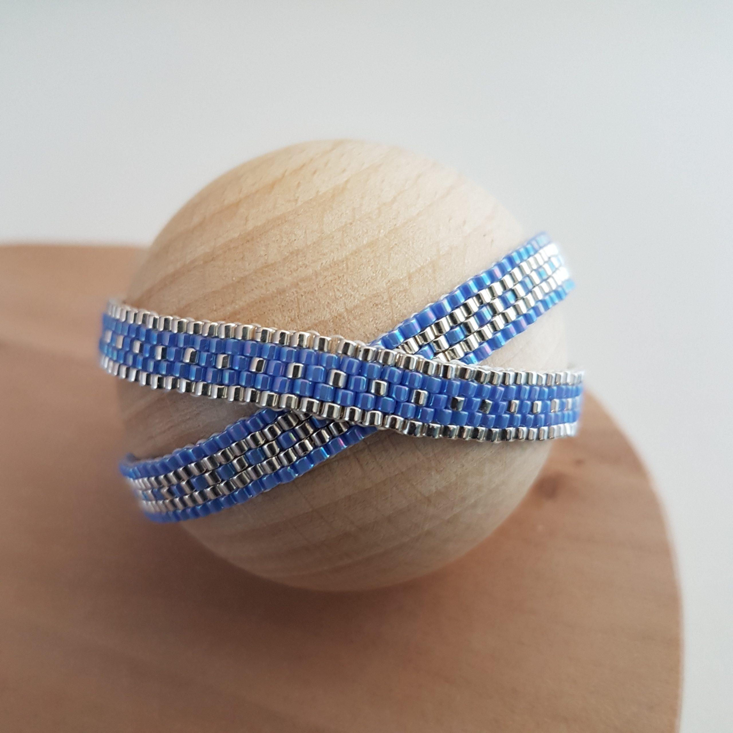 Cadeau femme Bijou artisanal lyon Bracelet Les cumulables bleu lavande argent 925 miyuki