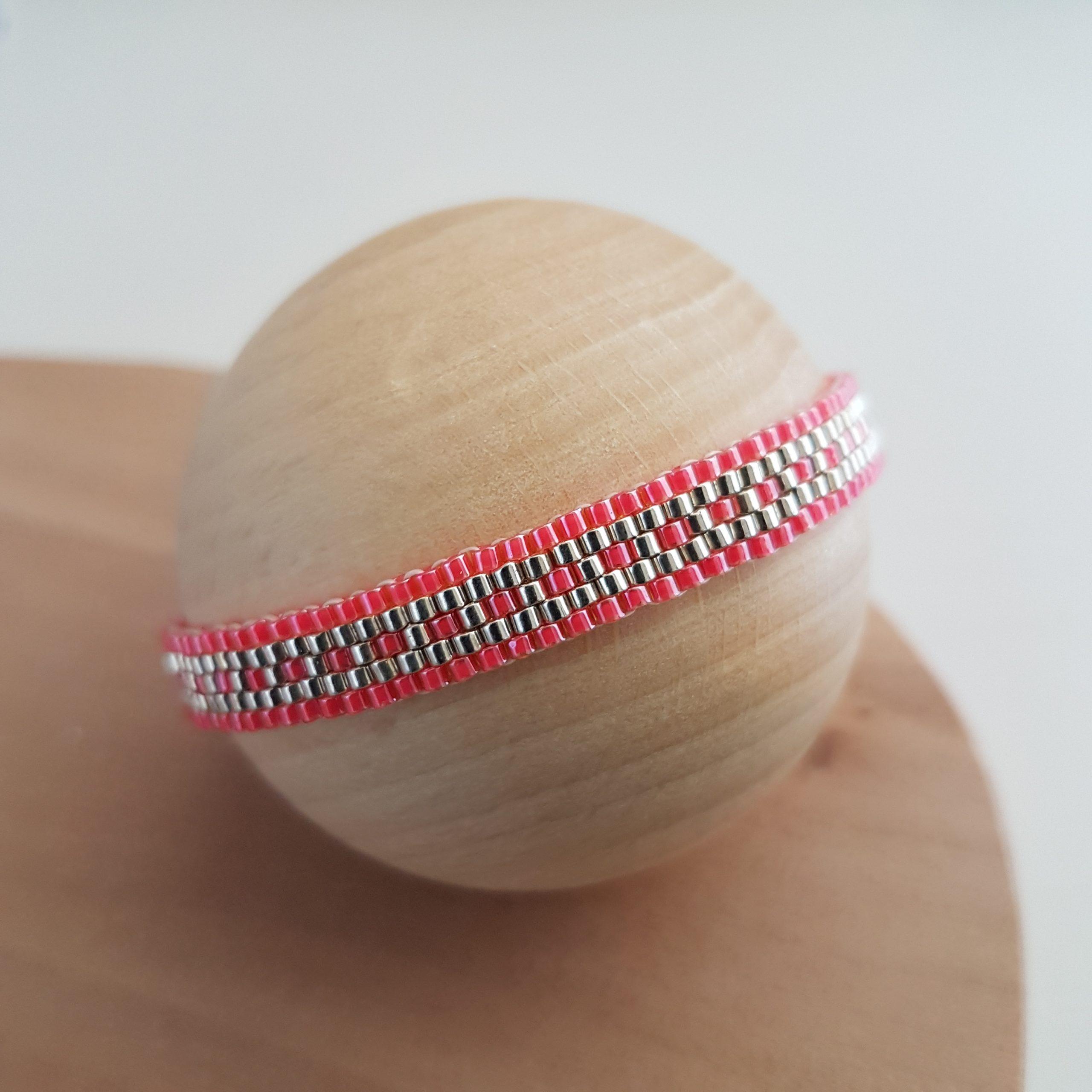 Cadeau femme Bijou artisanal lyon Bracelet Les cumulables corail argent 925 miyuki