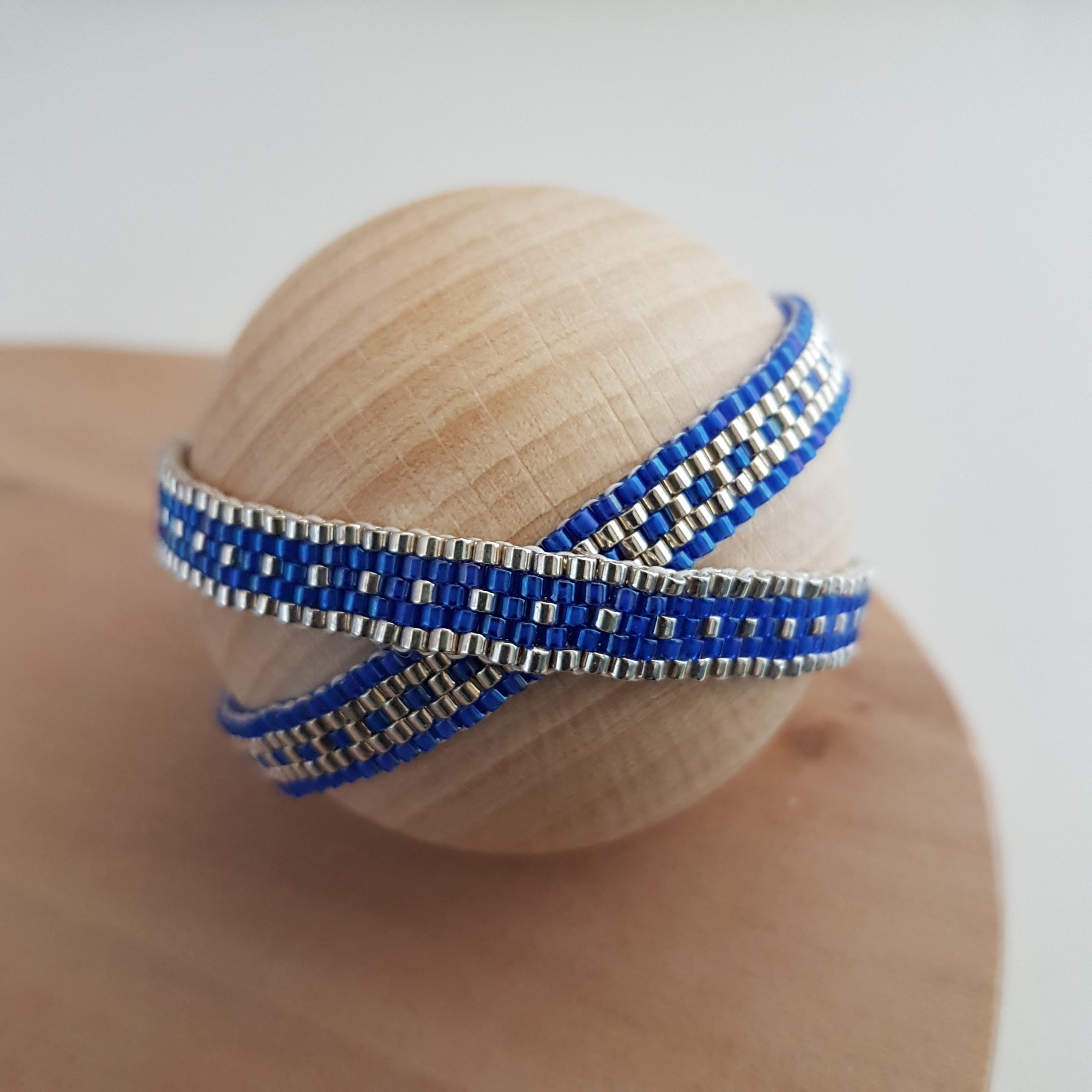 Bracelet Les cumulables bleu roi argent 925 miyuki