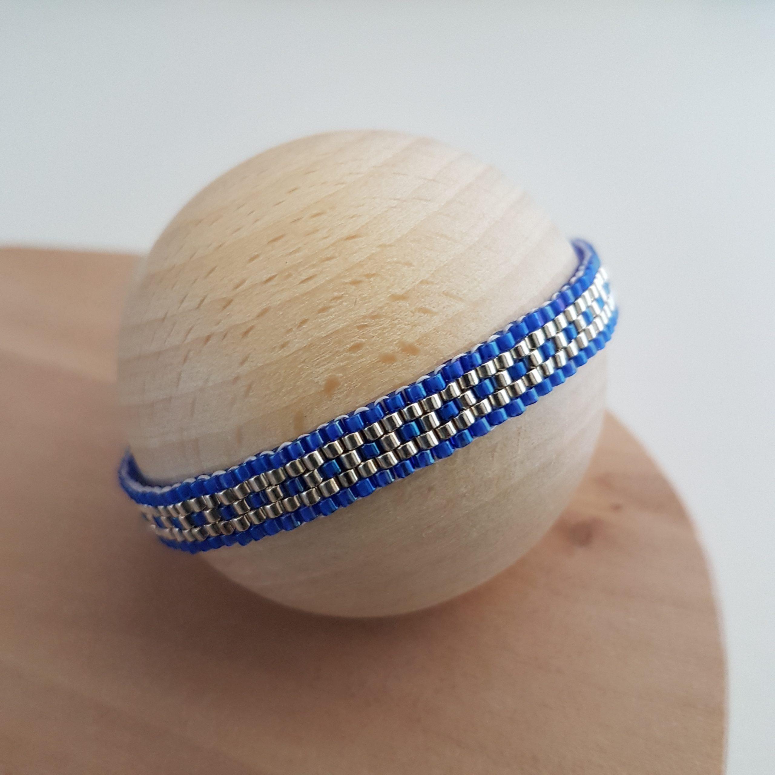 Cadeau Bijou artisanal lyon Bracelet Les cumulables bleu roi argent 925 miyuki