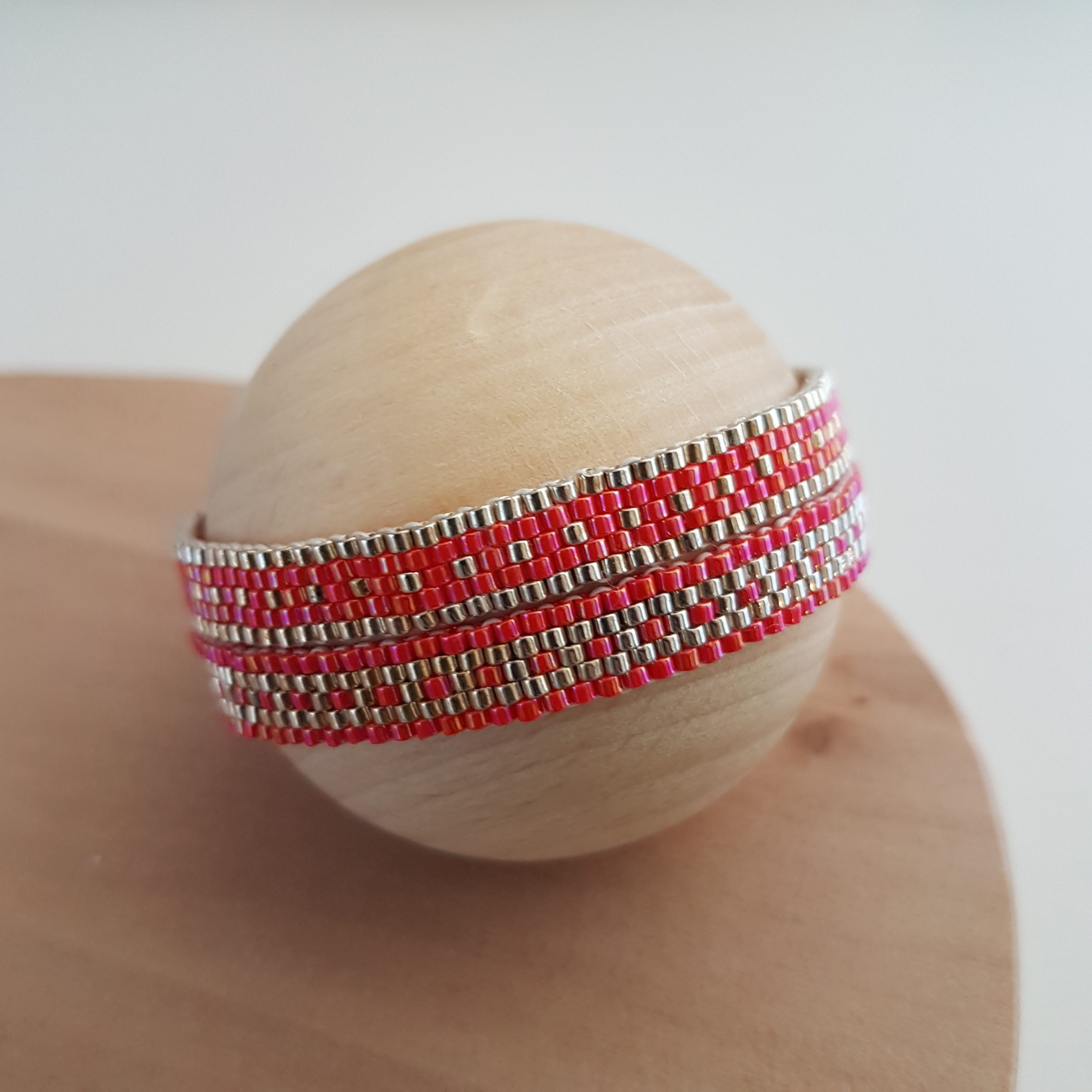 Cadeau Bijou artisanal lyon Bracelet Les cumulables rouge argent 925 miyuki