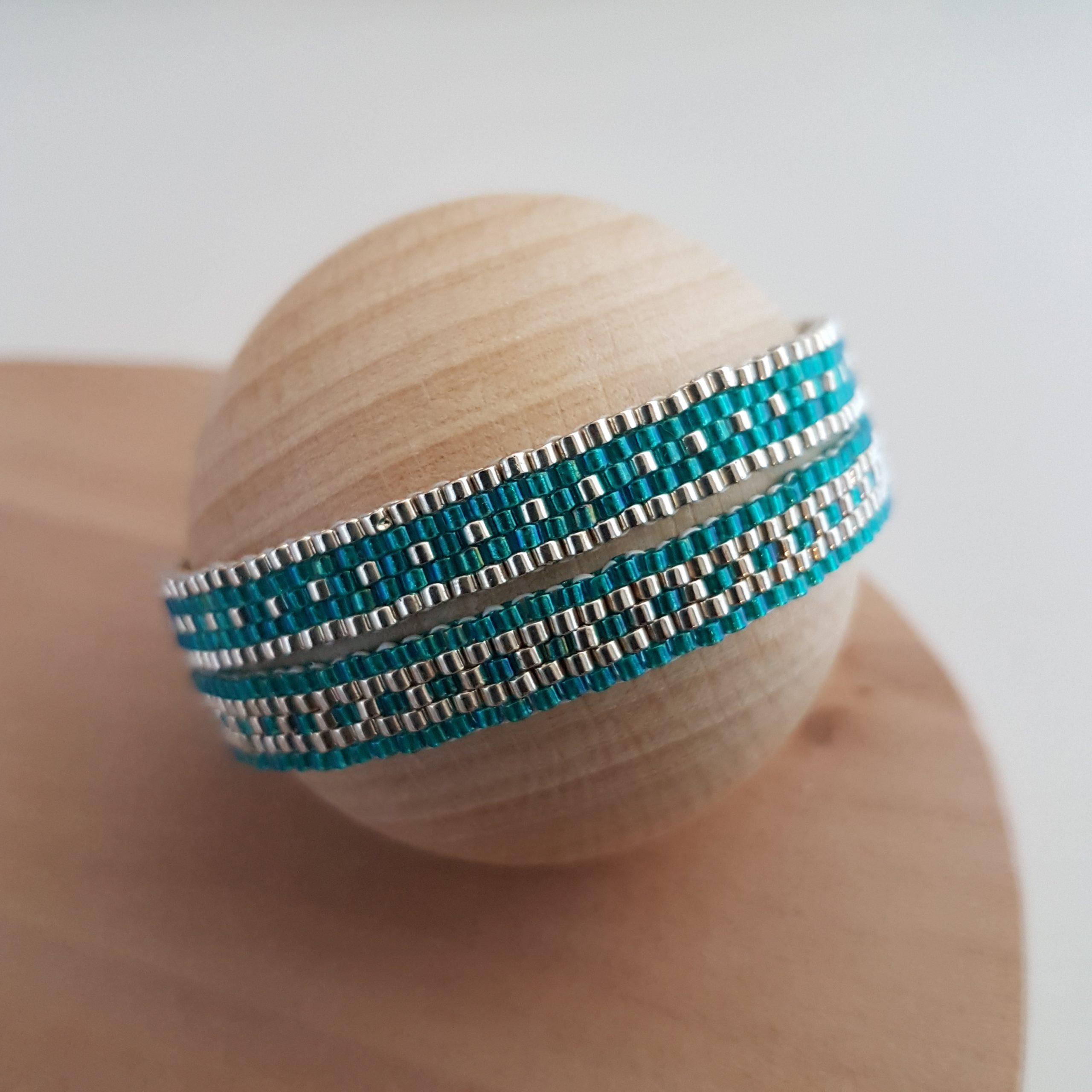 Cadeau Bijou artisanal lyon Bracelet Les cumulables turquoise argent 925 miyuki