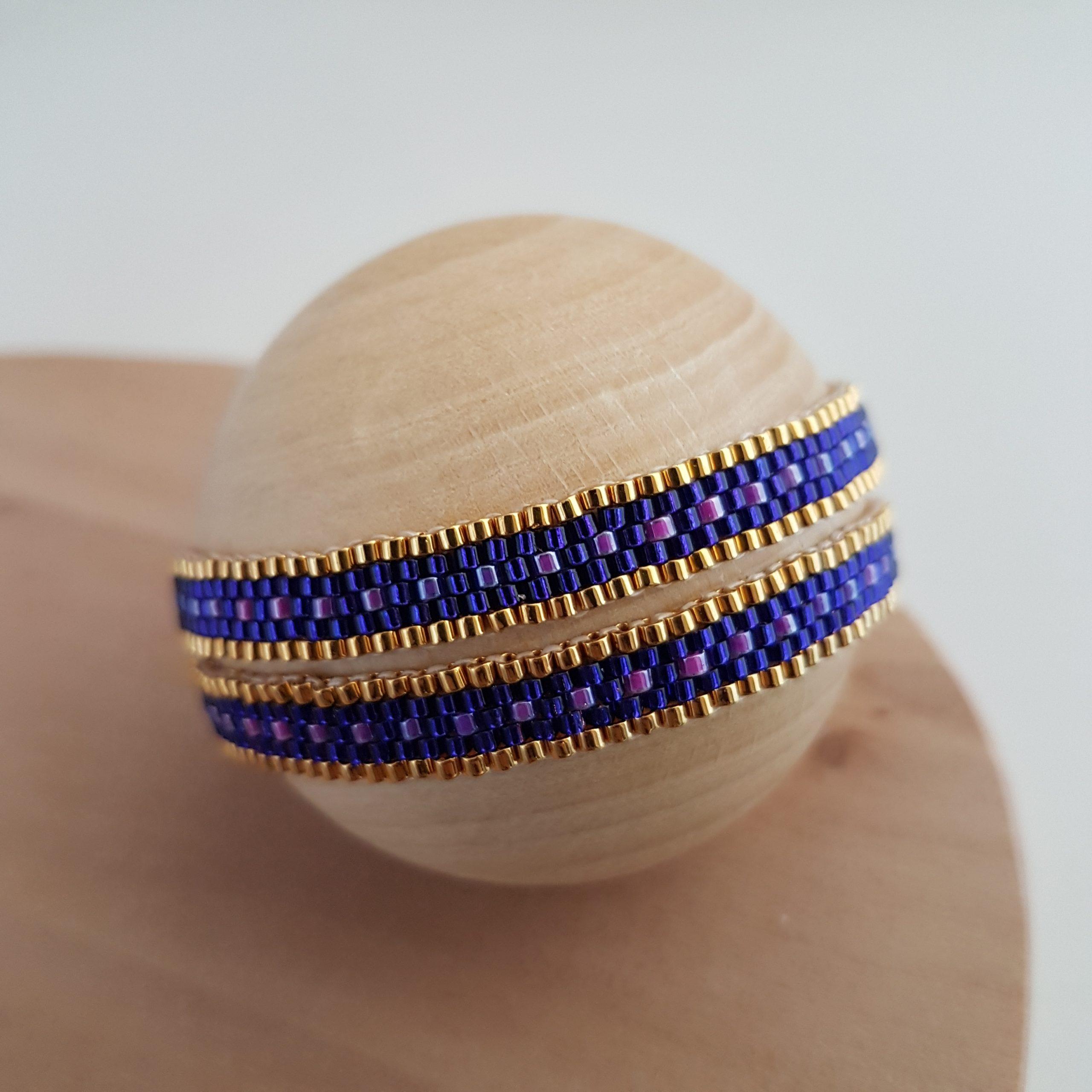 Cadeau femme Bijou artisanal lyon Bracelet double Camila violet plaqué or miyuki