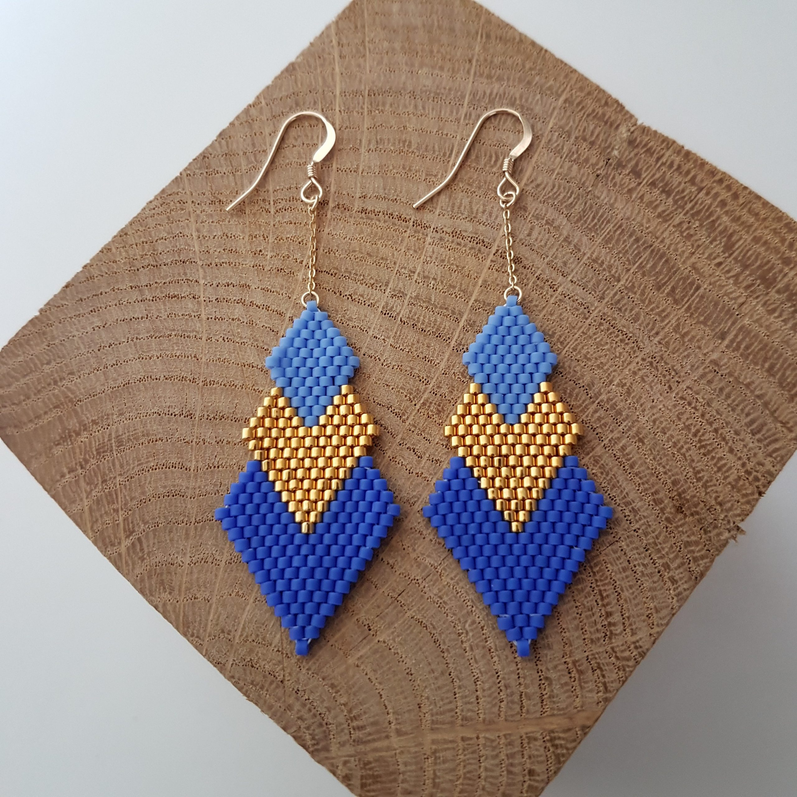 Boucles d'oreilles PENELOPE bicolore [bleu roi et bleu lavande]