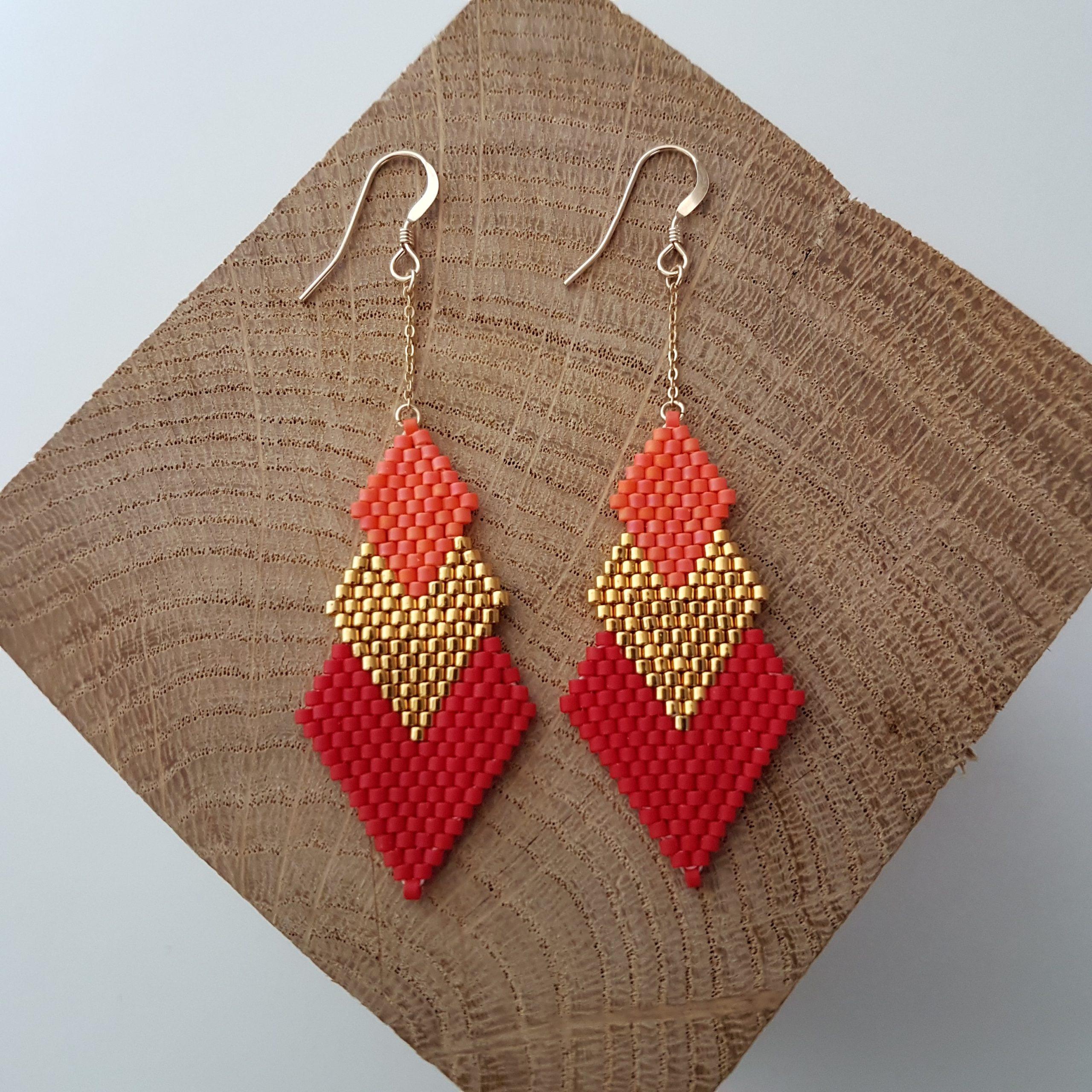 Cadeau Bijou artisanal lyon Boucles d'oreilles Pénélope bicolore corail rouge plaqué or miyuki