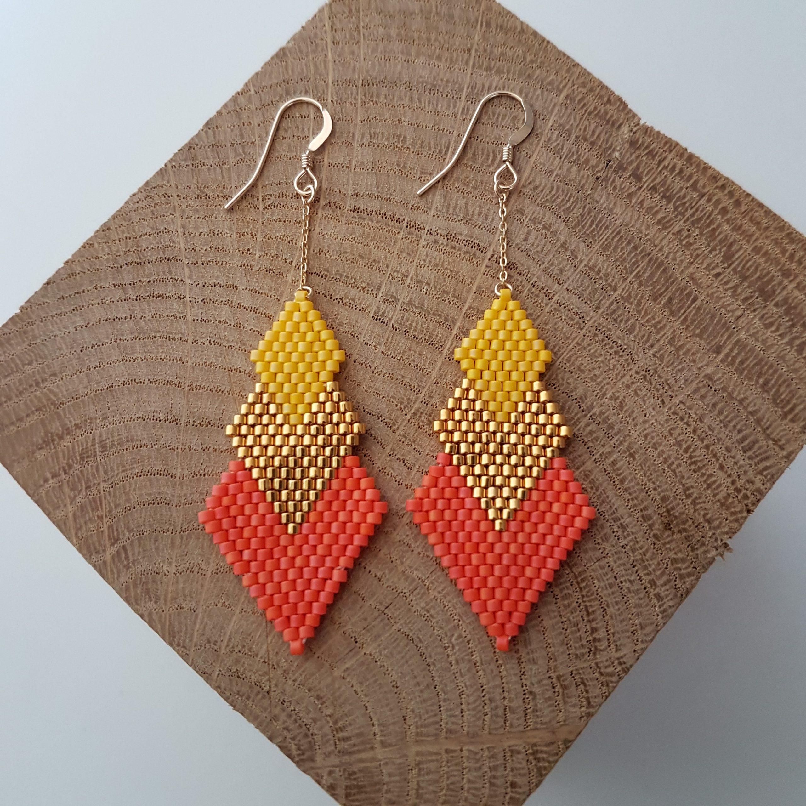 Boucles d'oreilles PENELOPE bicolore [corail et jaune]
