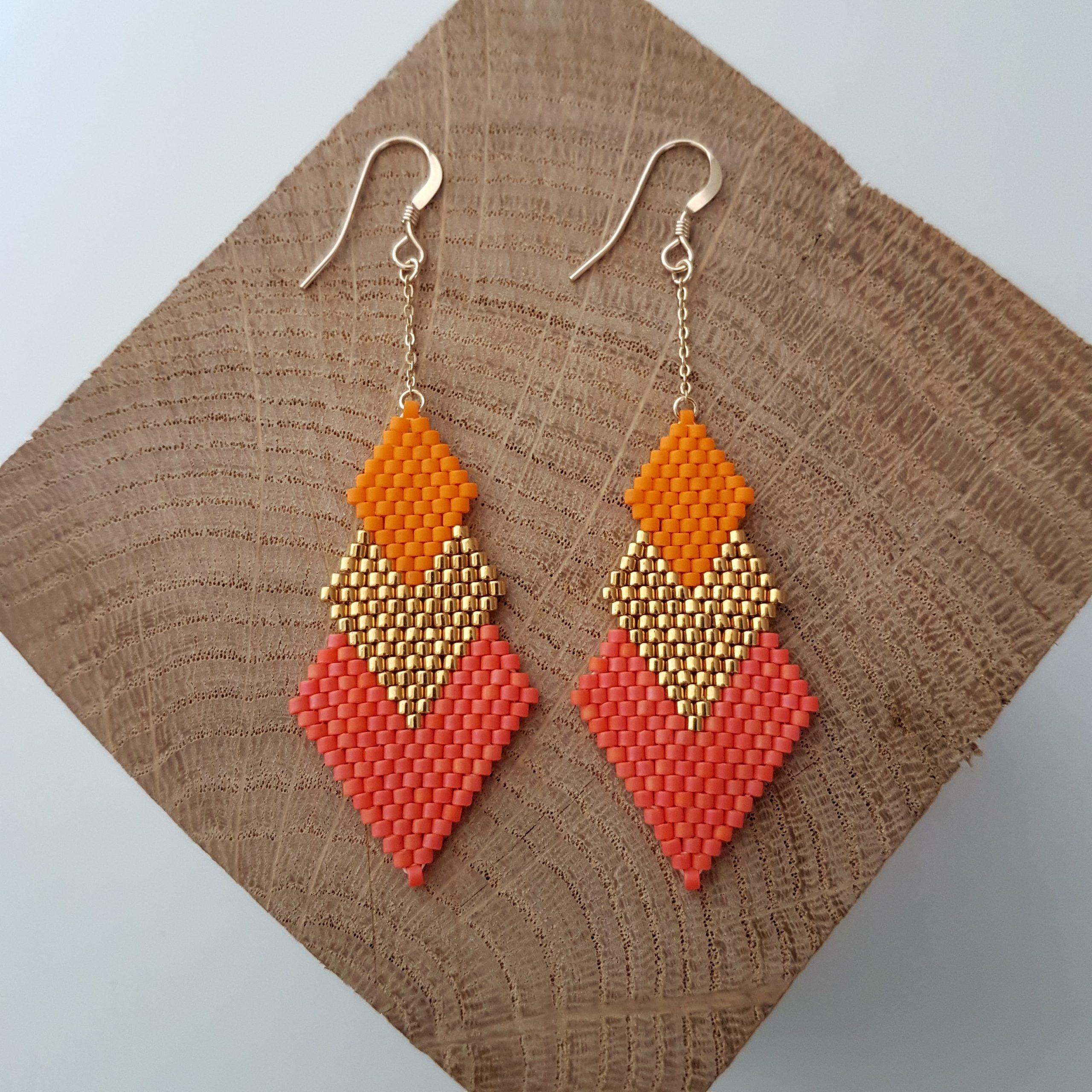 Boucles d'oreilles PENELOPE bicolore [corail et orange]