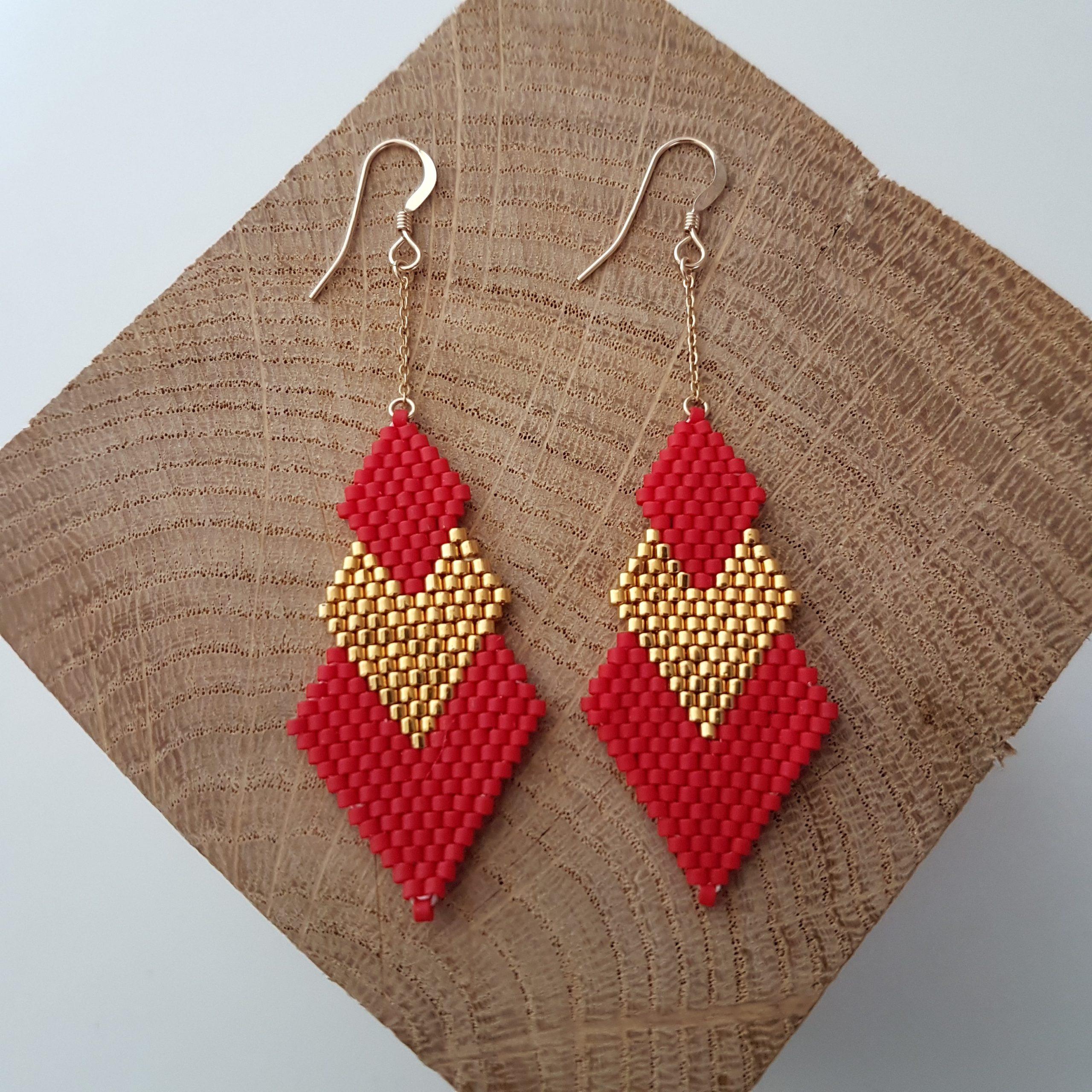 Cadeau Bijou artisanal lyon Boucles d'oreilles Pénélope rouge plaqué or miyuki