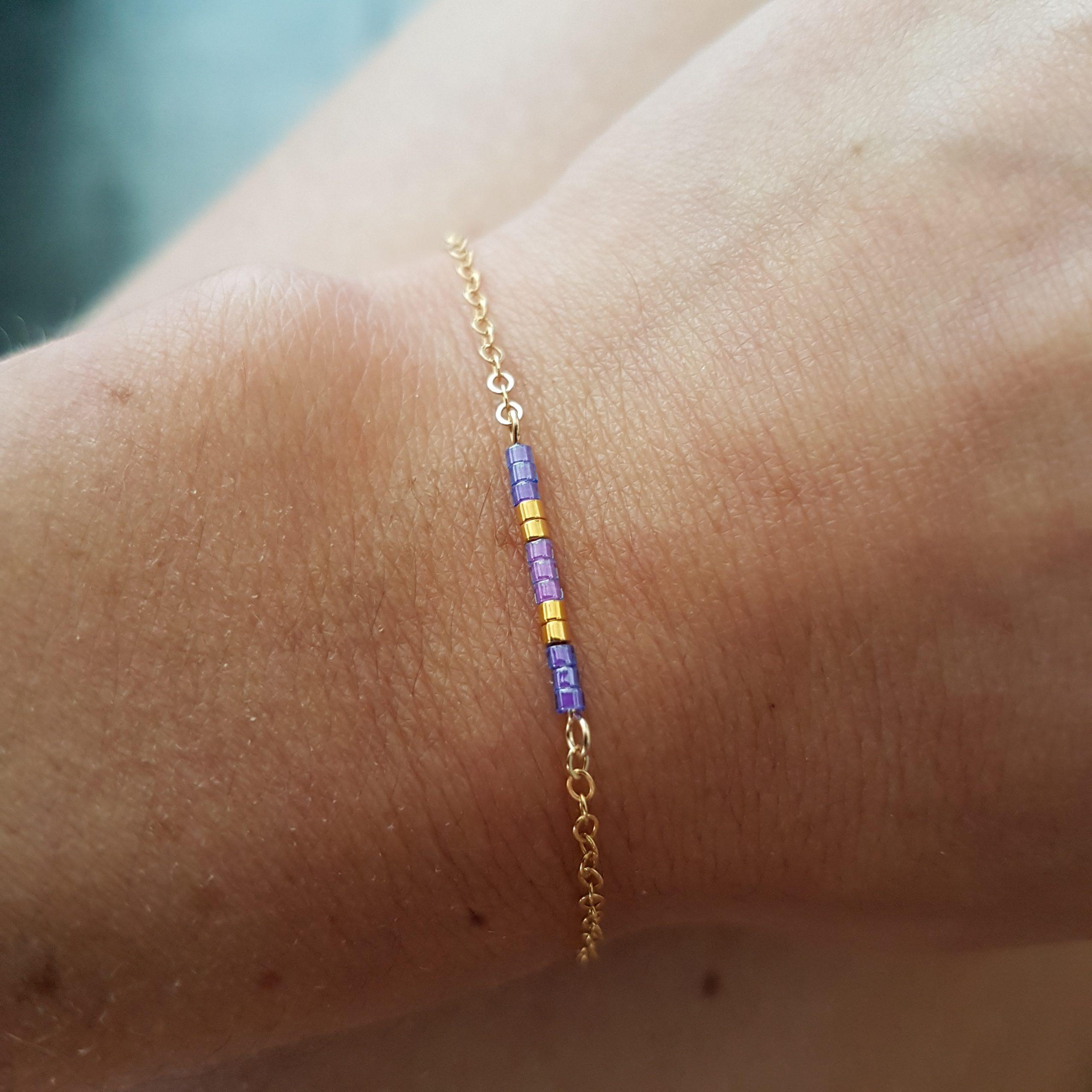 Cadeau Bijou artisanal lyon Bracelet Agathe violet plaqué or miyuki