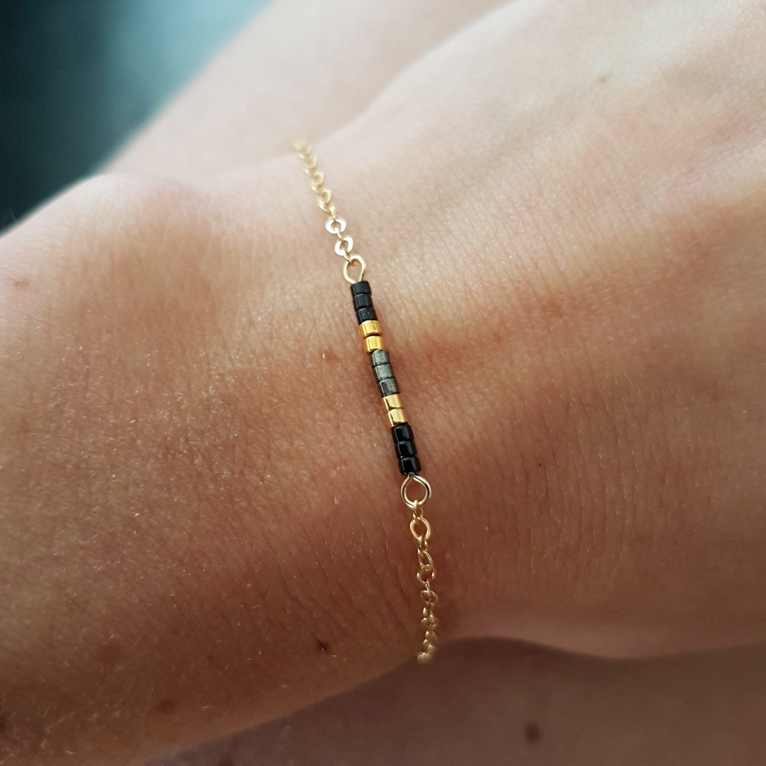 Cadeau Bijou artisanal lyon Bracelet Agathe noir plaqué or miyuki