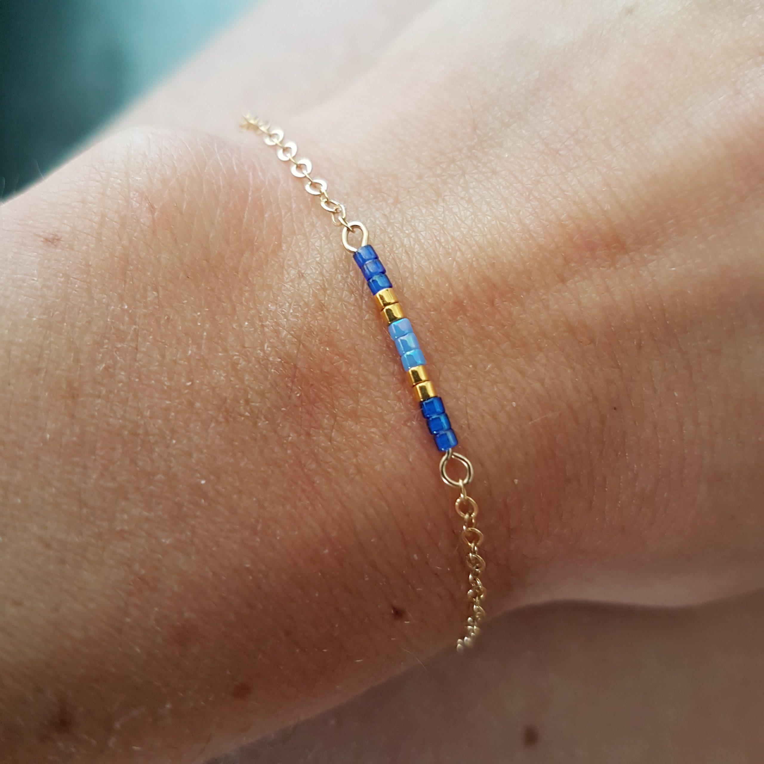 Cadeau Bijou artisanal lyon Bracelet Agathe bleu plaqué or miyuki