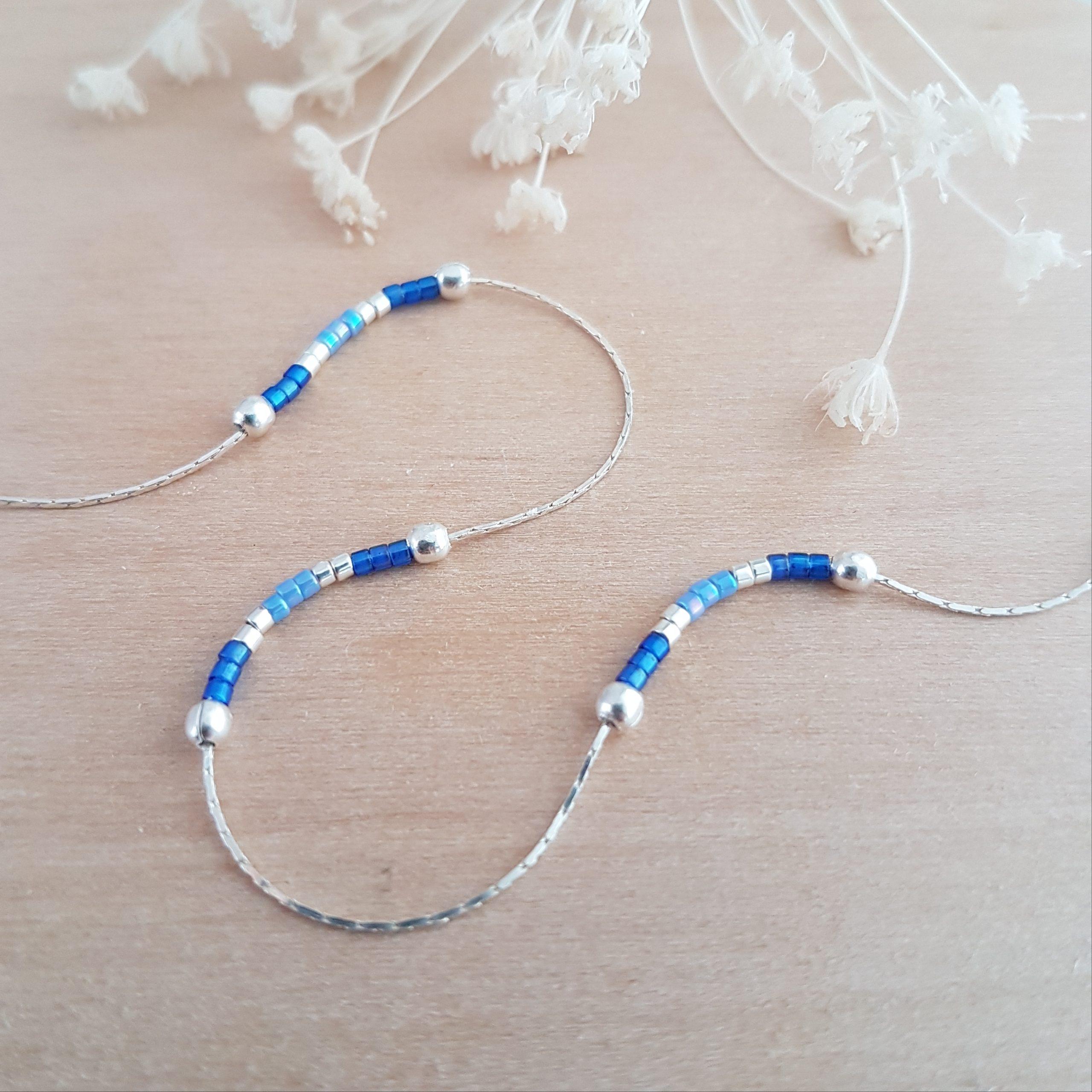 Cadeau Bijou artisanal lyon Chaîne de cheville Les petits cumulables bleu argent 925 miyuki