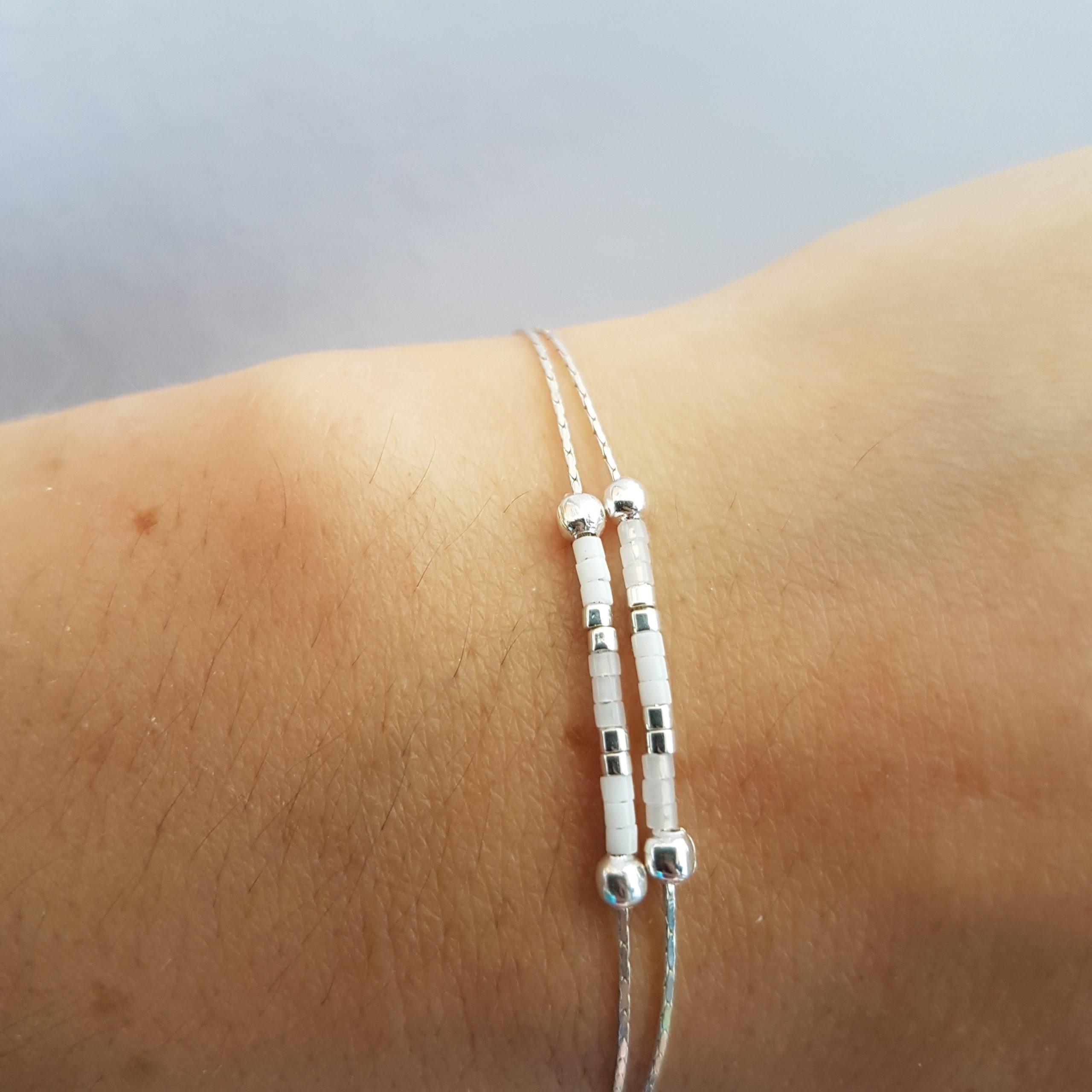 Cadeau Bijou artisanal lyon Bracelet Les petits cumulables blanc argent 925 miyuki