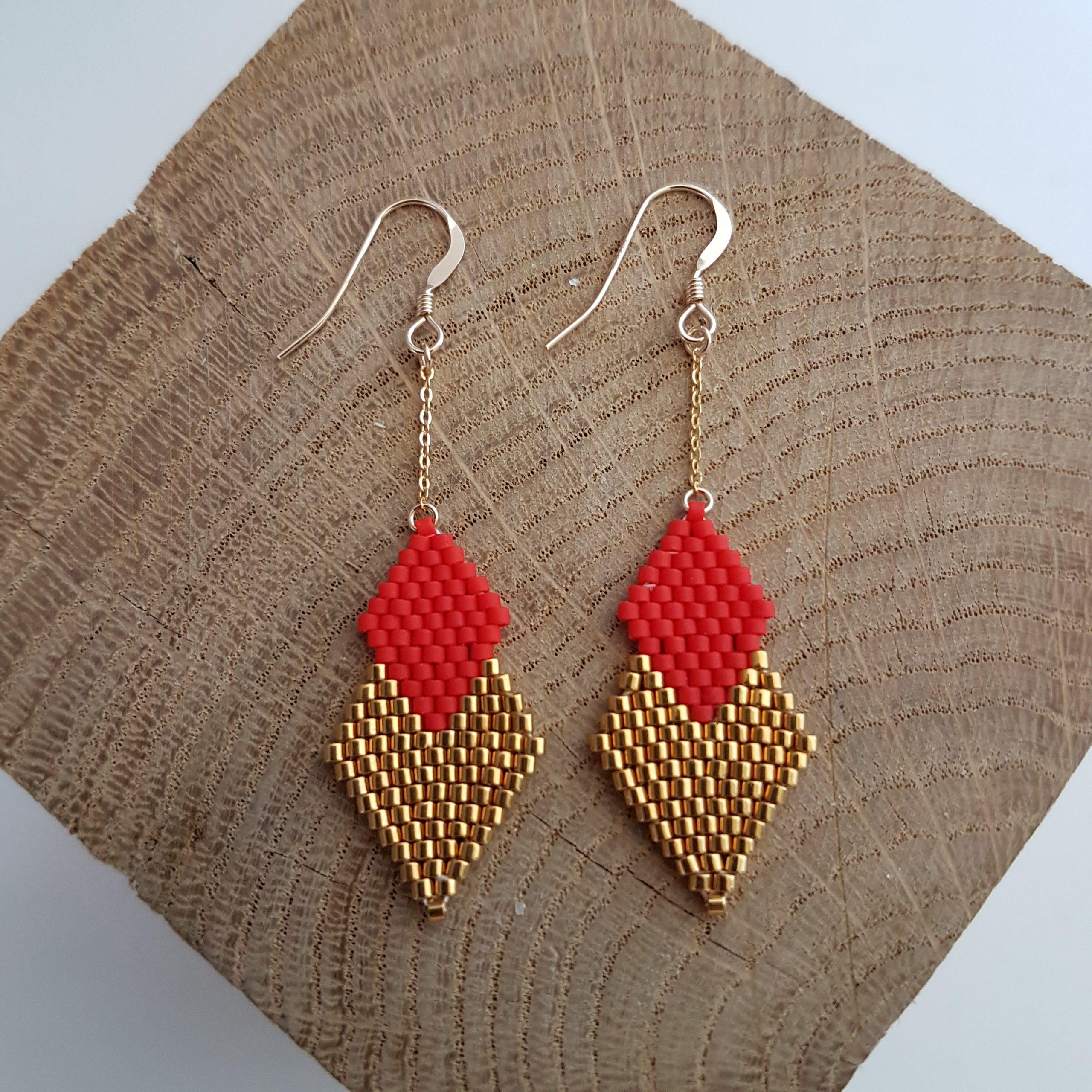 Cadeau femme Bijou artisanal lyon Boucles d'oreilles Pénélope mini rouge coquelicot argent 925 miyuki