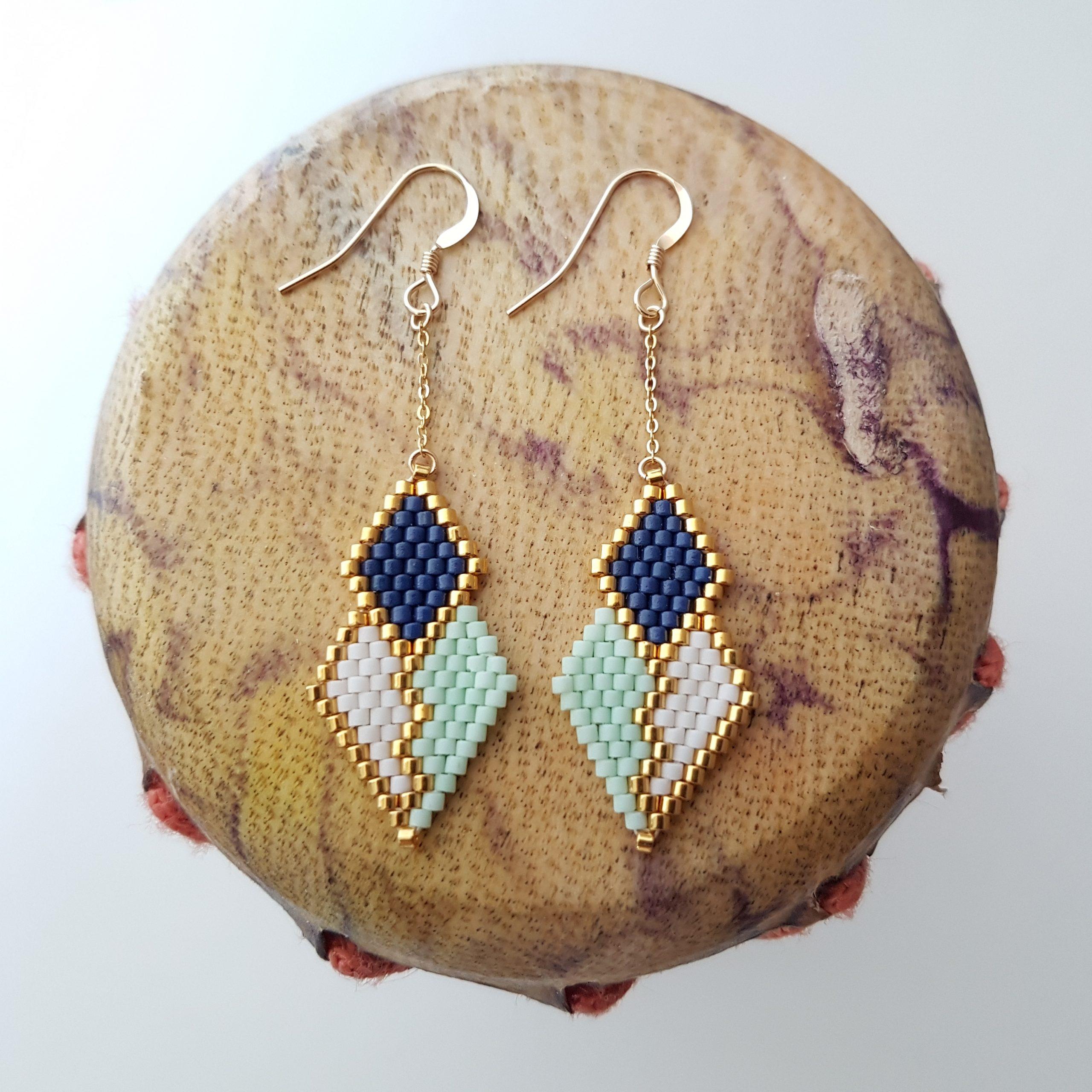 Boucles d'oreilles PENELOPE mini wax [Bleu azur]